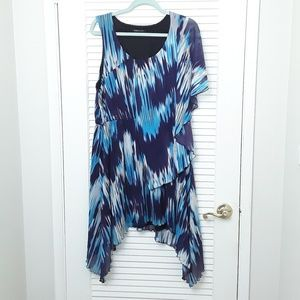 BCBG MaxAzria Tye Dye Design Dress Blue Size XL